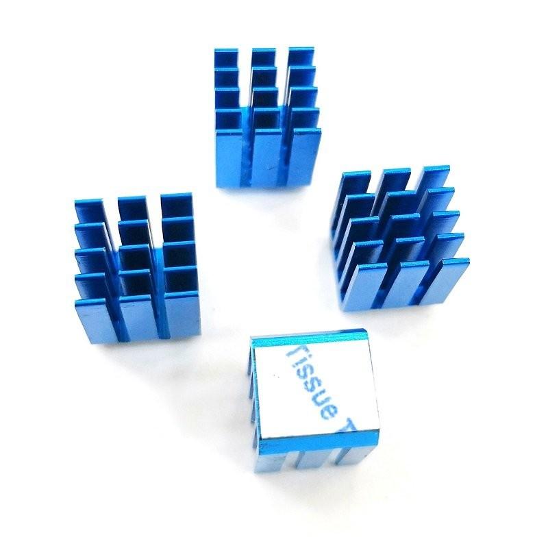 lot de 4 radiateurs GDTX9 alu anodisé bleu 9x9x12mm avec adhésif thermique