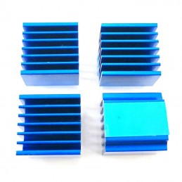 Lot de 4 maxi radiateurs alu 15x14x13mm bleu avec adhésif
