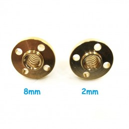 Écrou trapézoïdal THSL 8mm pas de 2 ou 8mm