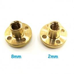 Écrou trapézoïdal THSL 8mm longueur de pas 2 ou 8mm